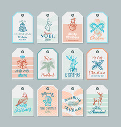 ready-to-use christmas and new year gift tags or vector image