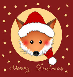 Red fox santa claus on red christmas greeting card vector