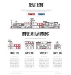 Rome travel infographics in linear style vector