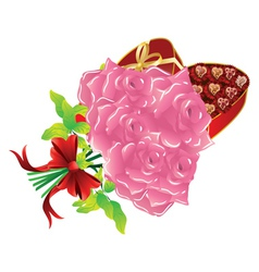 Roses and gift box3 vector image