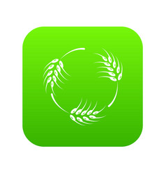 Rough wheat icon green vector