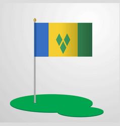 Saint vincent and grenadines flag pole vector