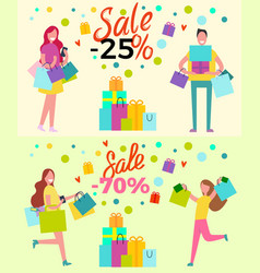 Sale set of banners depicting adults and purchases vector