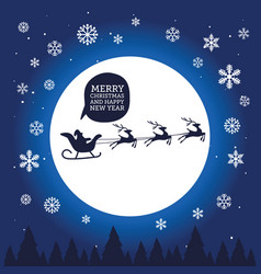 santa claus in sleigh with reindeer on moon vector image