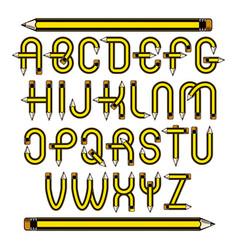 Script modern alphabet letters set constructed vector