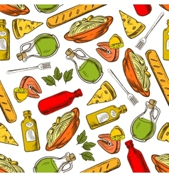Seamless italian cuisine dishes and drinks pattern vector