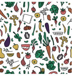 seamless pattern of vegetables doodle vector image