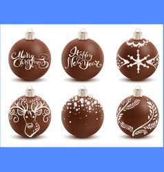 Set brown chocolate christmas ball sweet festive vector