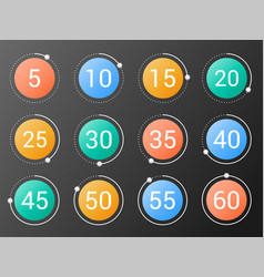 set colorful round timers vector image