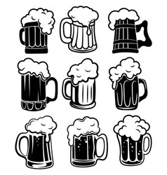 Set glasses with beer a collection stylized vector