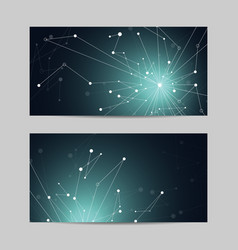 Set horizontal banners geometric pattern vector