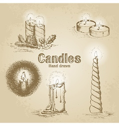 Set of vintage candle vector image