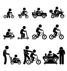 Small children riding toy vehicles and bicycle vector