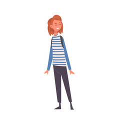 smiling girl wearing pants and striped jumper vector image