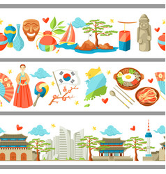 South korea seamless borders korean traditional vector