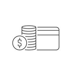 stack coins and credit card linear icon on vector image