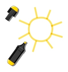 Sun and yellow marker vector