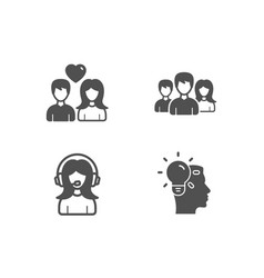 support couple love and teamwork icons idea sign vector image