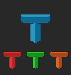 T logo 3D letter creative mockup isometric icon vector