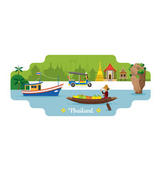 Thailand travel and attraction landmark vector