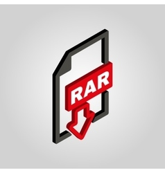 The RAR file icon 3D isometricArchive vector