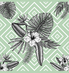 tropical flowers background seamless pattern with vector image