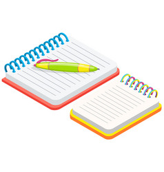 two blank empty spiral notepad notebook opened vector image