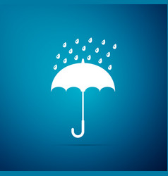 umbrella and rain drops icon on blue background vector image