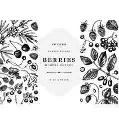 Vintage berries banner design wild berries and vector