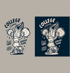 vintage college monochrome emblem vector image