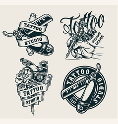 vintage tattoo studio prints vector image