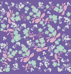 violet flowers seamless pattern vector image
