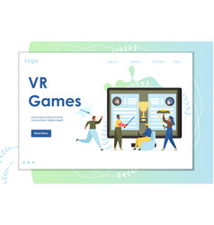 Vr games website landing page design vector
