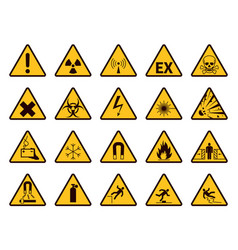 warning signs yellow triangle alerts symbols vector image