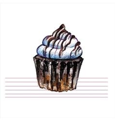 Watercolor cupcakes Hand drawn retro style vector image
