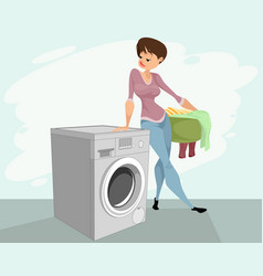 woman and a washing machine vector image