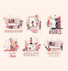 Women beauty fashion blog flat banners set vector