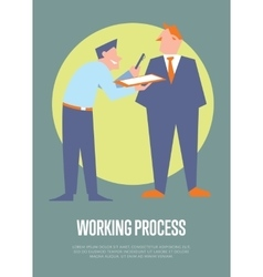 Working process banner with business people vector