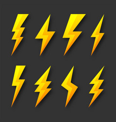 yellow lightning bolt icons collection flash vector image