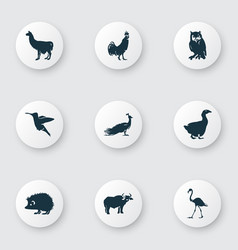 Zoo icons set with ox owl hedgehog and other vector