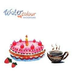 Cake and tea cup white background with space for vector