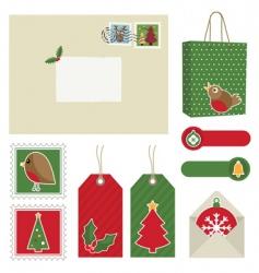 christmas postage vector image