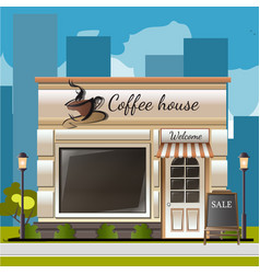 facade of a coffee shop in city vector image vector image