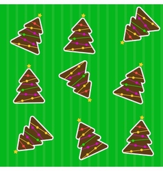 seamless christmas pattern with tree vector image