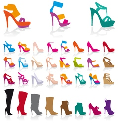 set of detailed colorful shoes vector image