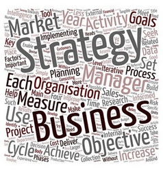 Strategy cycle text background wordcloud concept vector