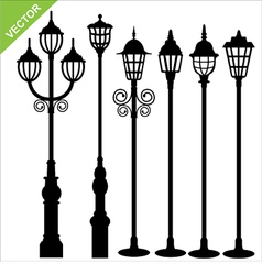 street lamps silhouettes vector image