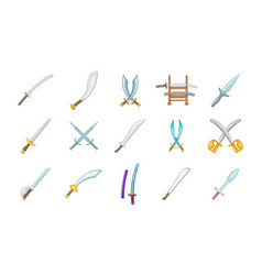 sword icon set cartoon style vector image vector image