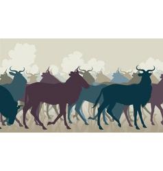 Wilderbeest herd vector image vector image