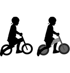 boy riding a pushbike silhouette vector image vector image
